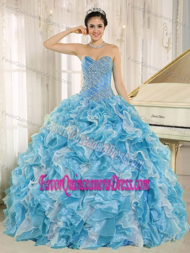 Teal Beaded Bodice and Ruffles Decorated Quinceanera Gown Dresses