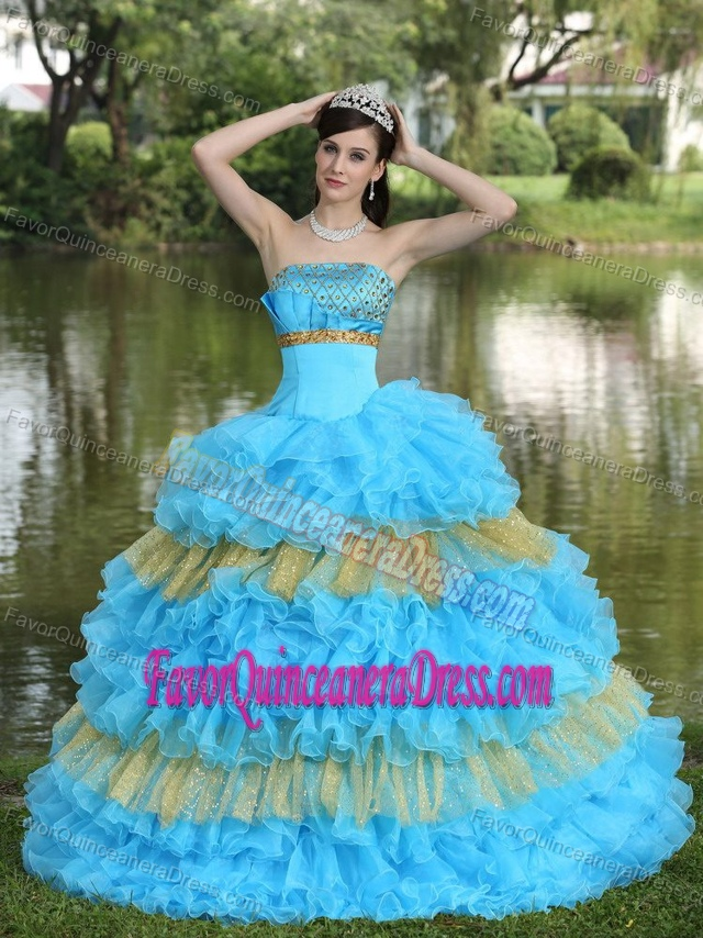 Aqua Blue Organza Tiered Quince Dress with Beads Decorated and Sequins