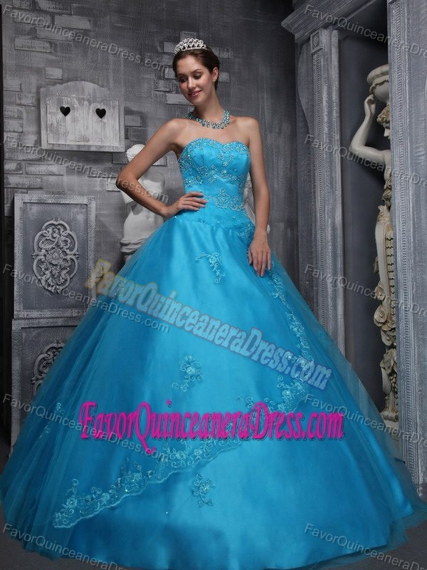 Taffeta and Tulle Aqua Blue Quinceaneras Dress with Beads and Appliques