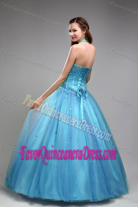 Green Halter Tulle Beaded Quinceaneras Dresses with Beads and Ruches