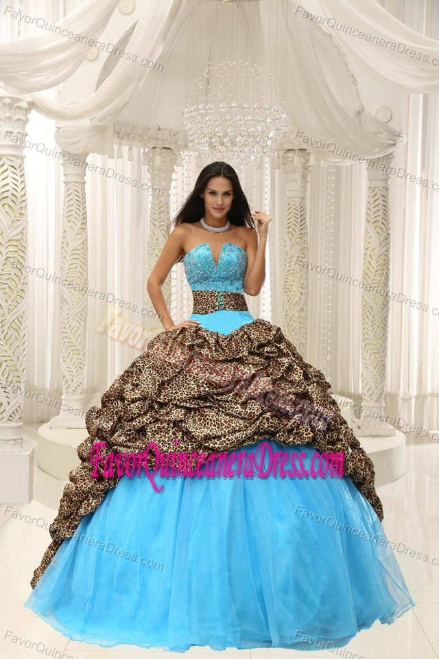 Best Leopard Beading Decorated Sweetheart Sweet 15 Dresses in Organza
