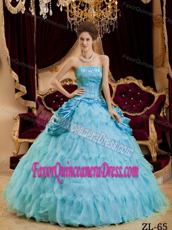 Taffeta and Organza Aqua Blue Strapless Dress for Quince with Ruffles