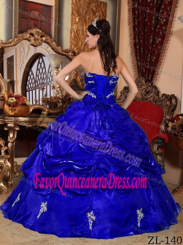 Royal Blue Strapless Organza Dresses for Quinceanera with Appliques