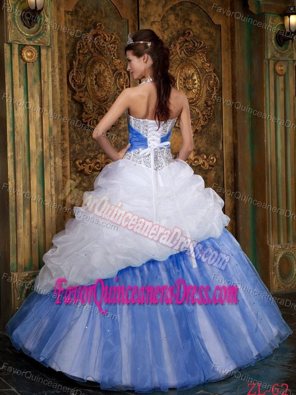 White and Baby Blue A-line Halter Sweet 15 Dress with Beads and Pick-ups