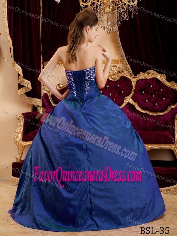 Teal Quinceanera Dresses 2013 Appliqued Sweetheart T...