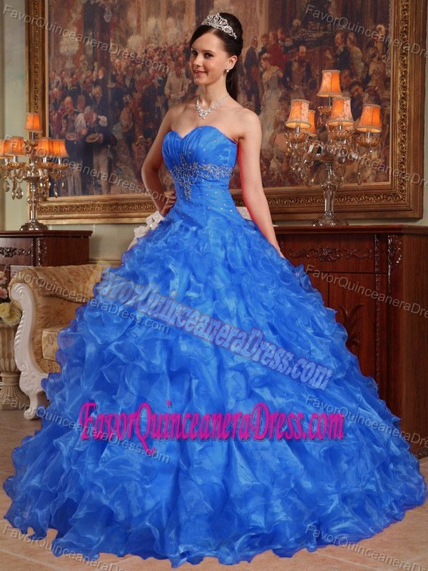 Blue Sweetheart Organza Beaded Quinceanera Dress with Ruffles and Ruche