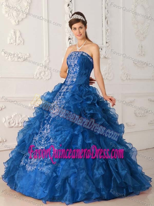 Brand New strapless Floor-length Blue Quinceaneras Gowns in Satin and Organza