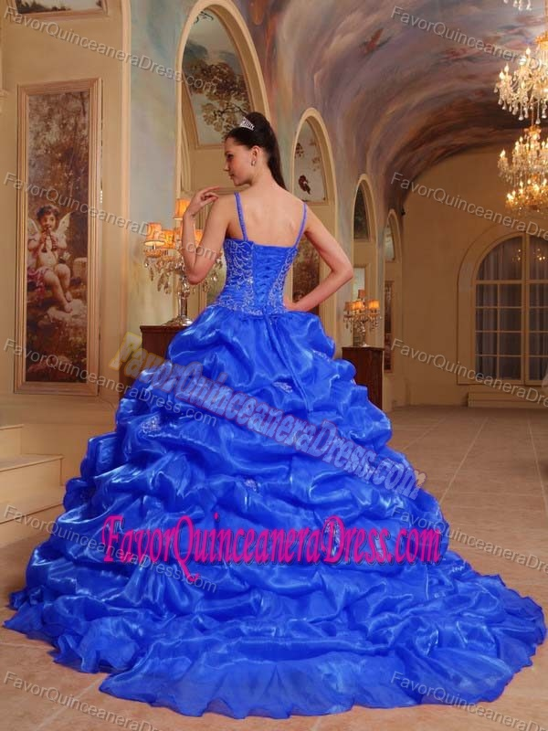 Flattering Beaded Blue Court Train 2016 Quinceanera Dress with Spaghetti Straps