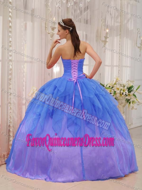 Sexy Strapless Beaded Blue Dresses for Quinceaneras with Flowers in Organza