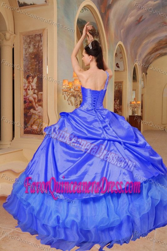 Angel One Shoulder Blue Taffeta Quinceaneras Dress with Pick-ups in Promotion