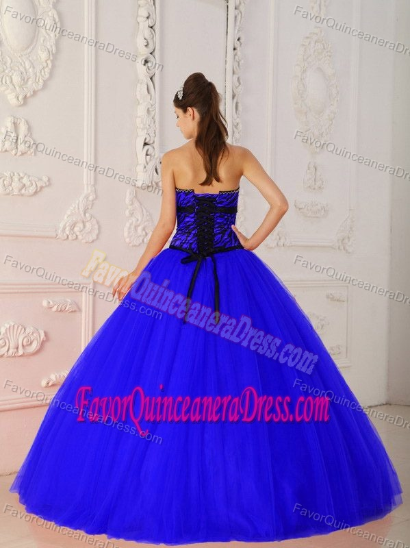 Exclusive Tulle and Zebra Beaded Dresses for Quinceaneras in Royal Blue Color