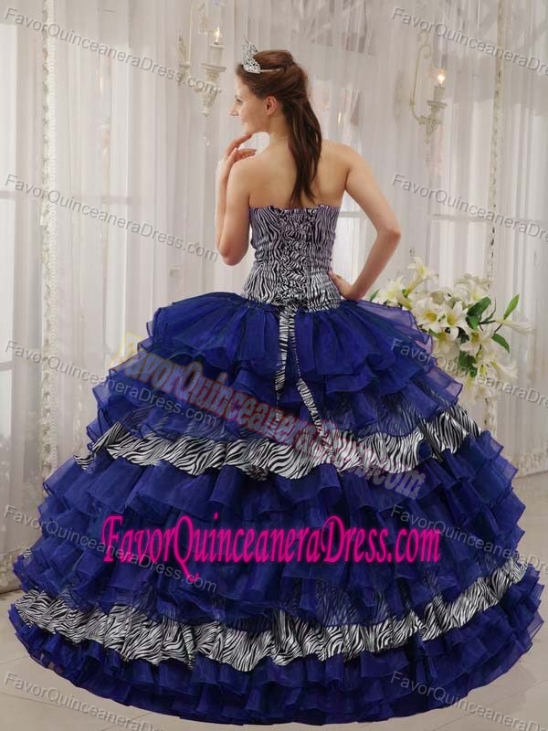Zebra and Organza Beaded Blue Modern Sweetheart Dresses for Quinceaneras