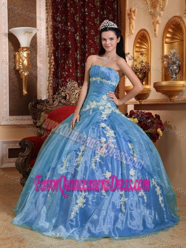 Strapless Floor-length Organza Blue Appliqued Righteous Dresses for Quinceaneras