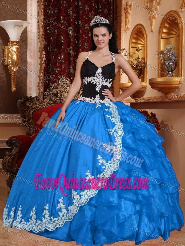 Baby Blue and Black Halter Top Urbane Sweet 16 Dresses in Taffeta and Organza