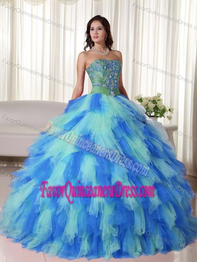 Multi-color Tulle Snazzy Quinceanera Dresses with Embroidery and Ruffled Layers