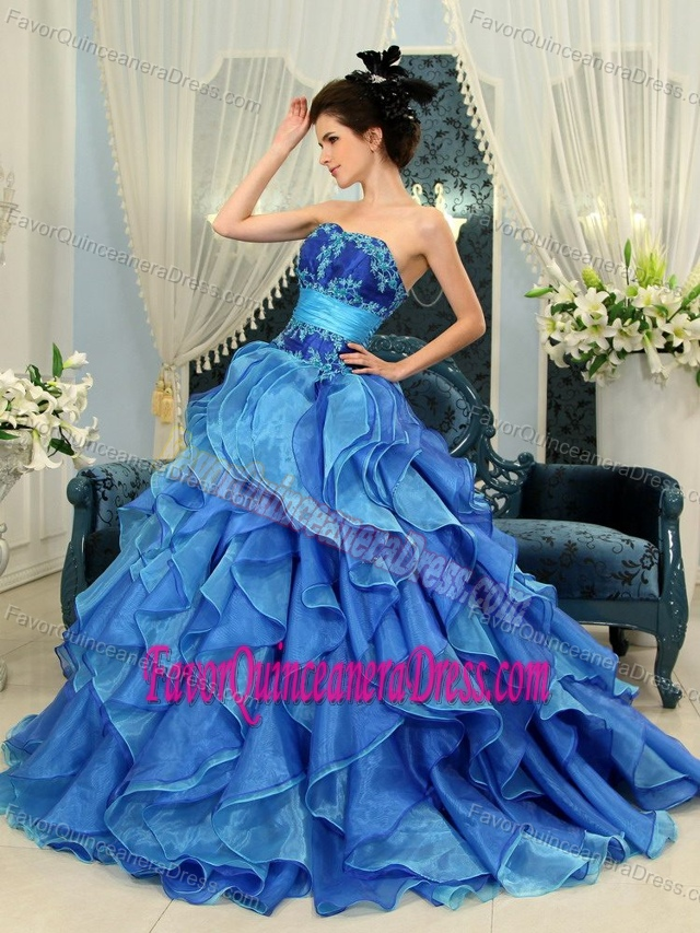 Blue Princess Sweetheart Organza Sharp Dress for Quince with Beaded Bodice