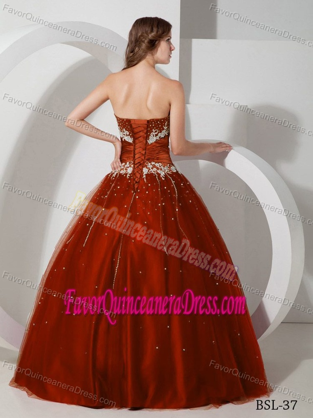 Tulle Strapless Beading Burgundy Polished Sweet Sixteen Quinceanera Gowns