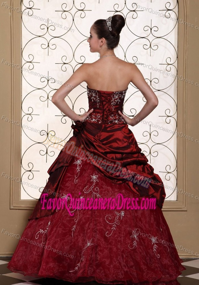 Embroidery Strapless Layer Burgundy Lace Up Back Nifty Quinceaneras Dress
