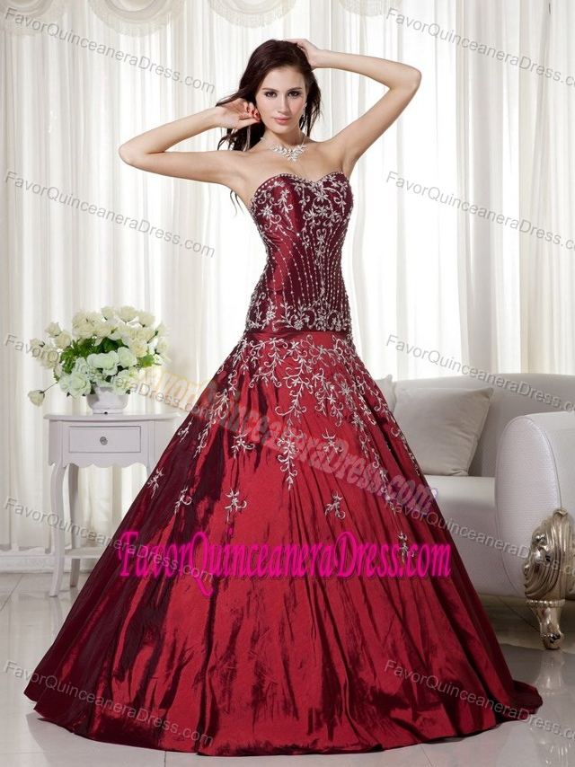 New Beading Sweetheart Embroidery Burgundy Zipper-up Quinceanera Gowns