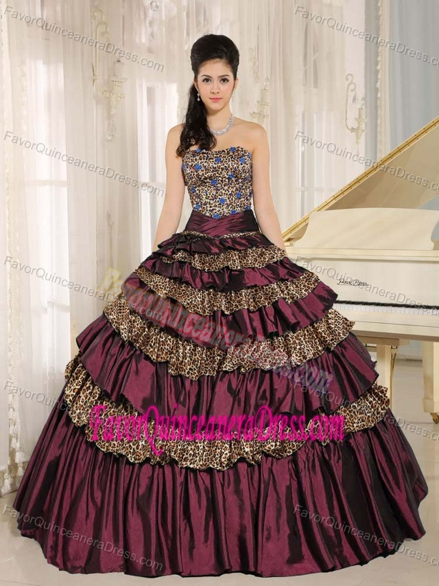 Taffeta and Leopard Colorful New Quinceanera Dresses with Ruching