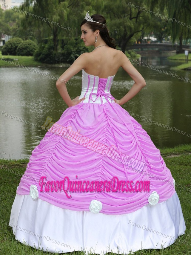 Popular Draped White and Pink Quinceanera Gown Dresses in Taffeta Tulle