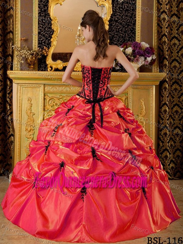 New Orange Red Strapless Quinceanera Dress in Taffeta with Pick-ups