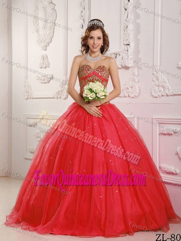 2013 Beaded Red Sweetheart Quinceanera Dresses in Satin and Organza
