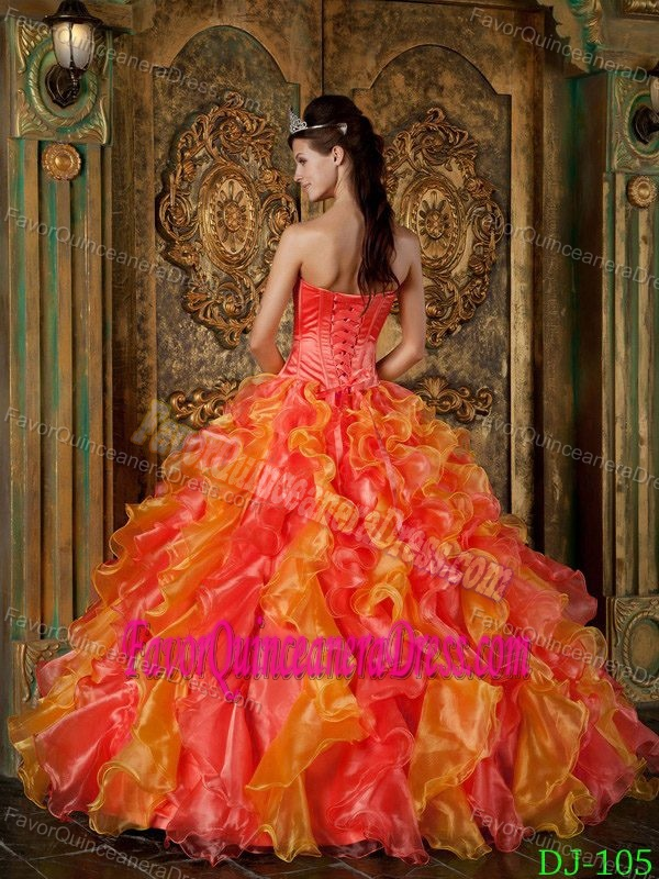 Bright Colorful Strapless Organza Dress for Quinceanera with Ruffles