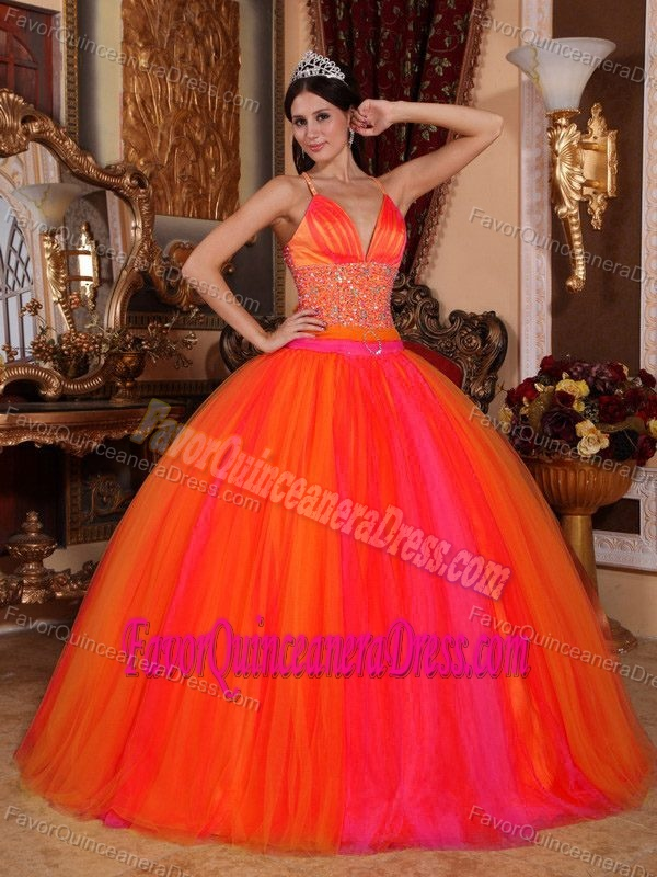 Orange Red V-neck Sexy Dresses for Quinceanera in Taffeta and Tulle