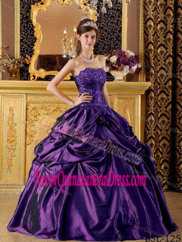 Ball Gown Strapless Quinceanera Dresses with Pick-ups and Beading