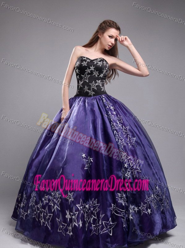 Dark Purple Ball Gown Strapless Beaded Quinceanera Dresses with ...