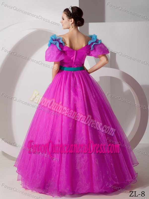V-neck Organza Fuchsia Quinceaneras Dress with Hand Made Flowers