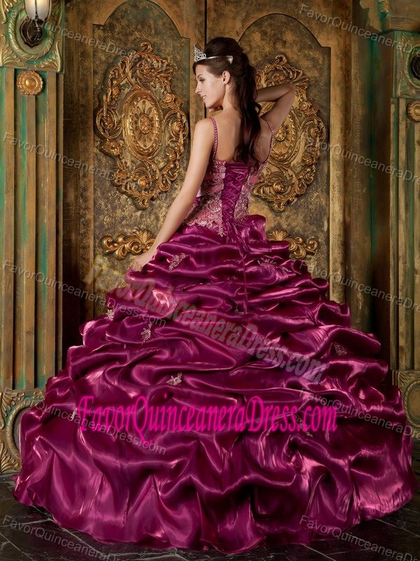 Classical Floor-length Taffeta Beaded Quinceanera Dresses in Fuchsia