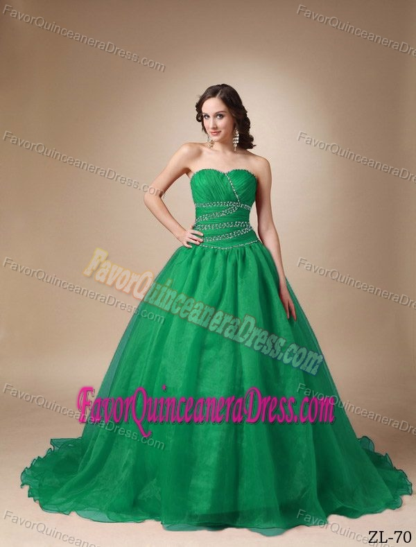 Appliqued Brush Train Sweetheart Hunter Green Organza Quinceanera Dresses