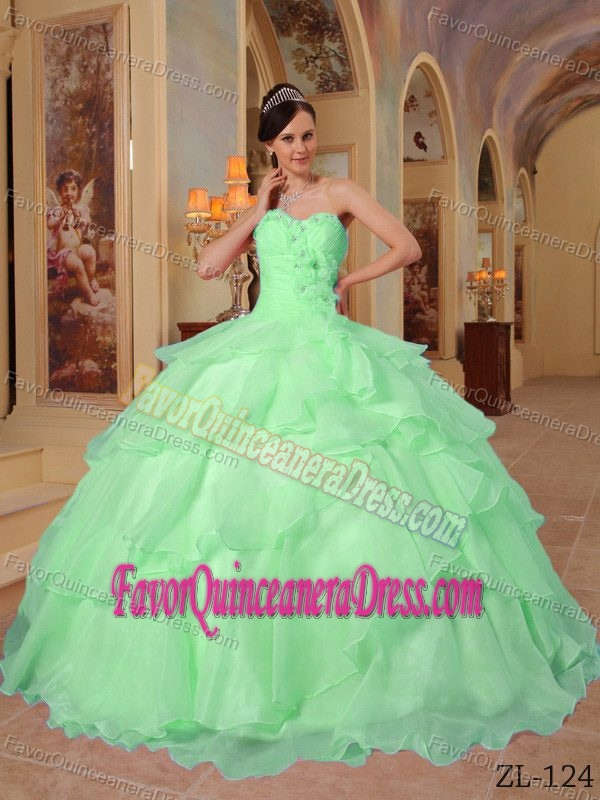 Apple Green Sweetheart Layered Organza Sweet 16 Dress with Appliques