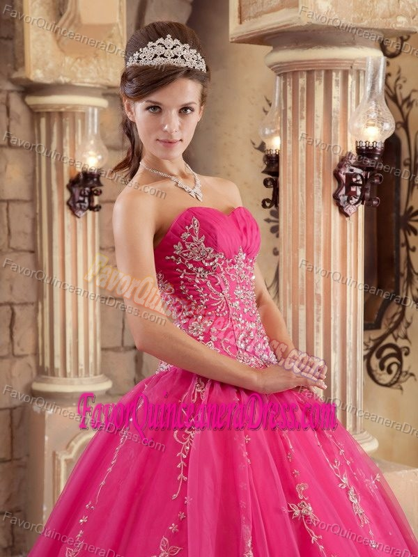 Hot Pink Organza Beaded Dress for Quinceanera Embellished with Embroidery