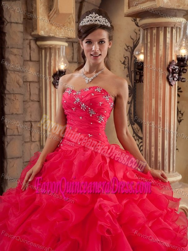 Red Beaded Sweetheart Organza Sweet Sixteen Quinceanera Dresses on Sale