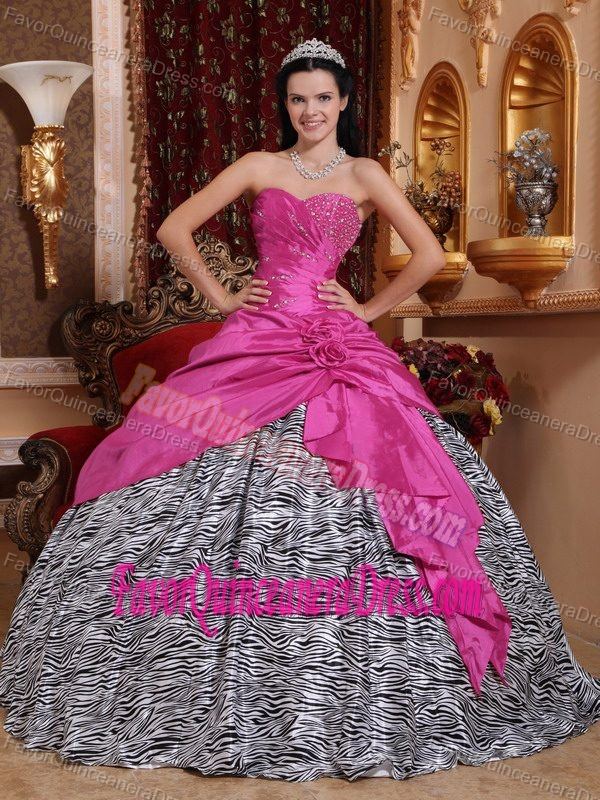 Inexpensive Hot Pink and Zebra Beaded Dresses for Quince with Flowers 2013
