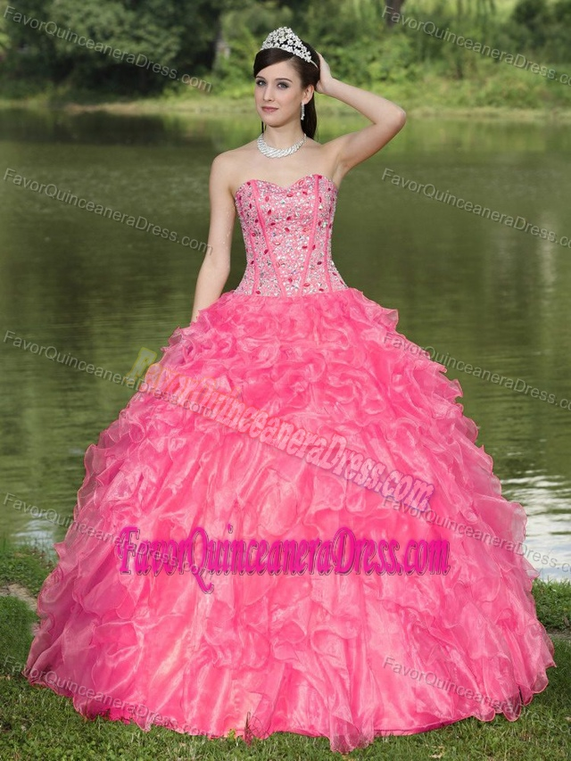 Hot Pink with Sweetheart Beaded Ruffles Layered Quince Dresses in Organza
