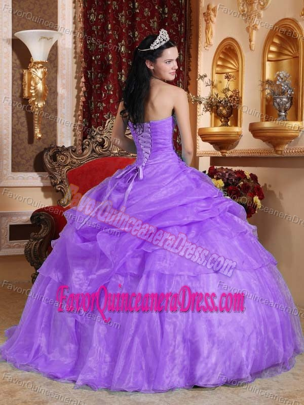 Appliqued Purple Ball Gown Organza Quinceanera Party Dresses with Pick-ups