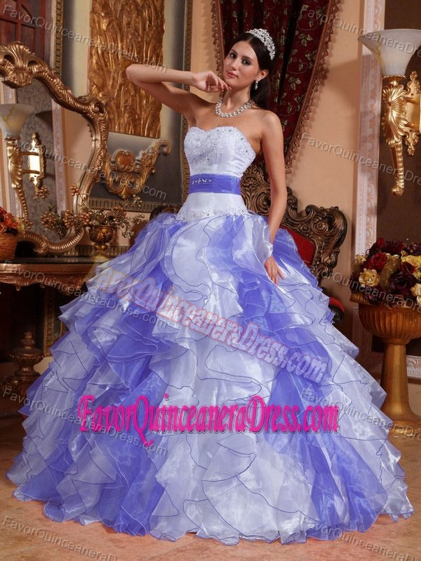 and Purple Sweetheart Ball Gown Organza Quinceanera Dress with Ruffles
