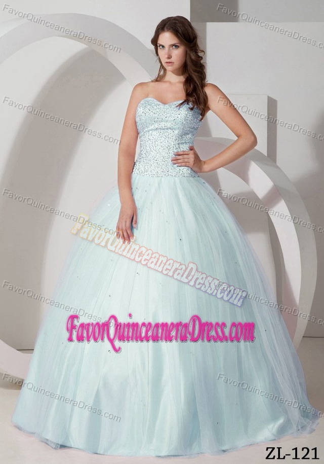 New Arrival Light Apple Green Beaded Quinceanera Gown Dresses in Tulle