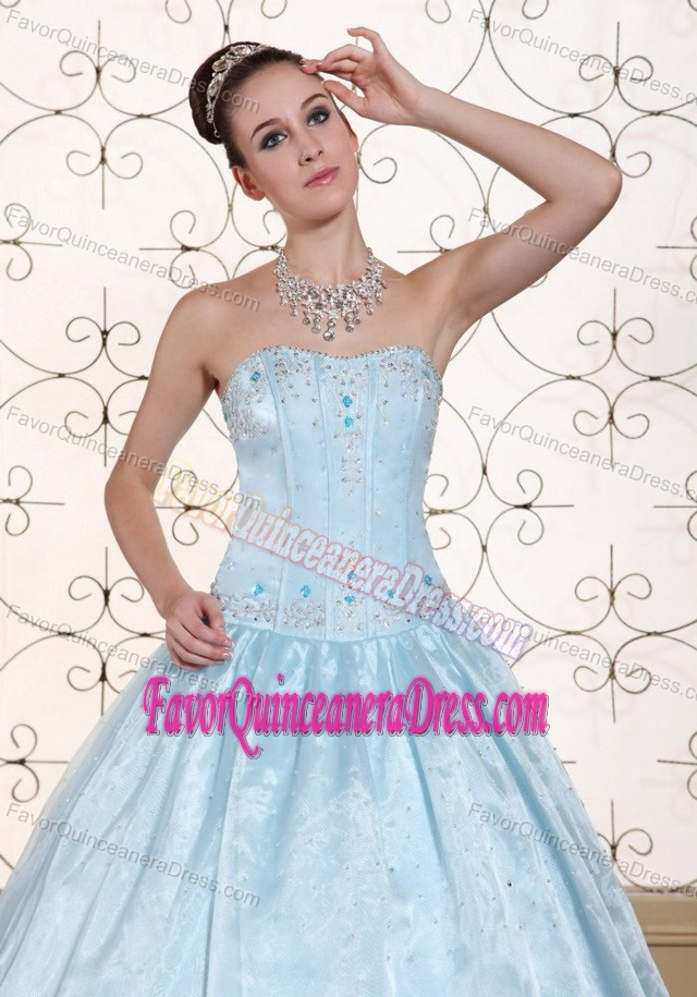 Perfect Beaded Strapless Light Blue Quinces Dresses in Taffeta and Organza