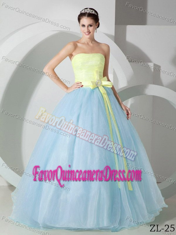 Brand New Yellow and Blue Organza Quinceanera Gown Dresses with Sash