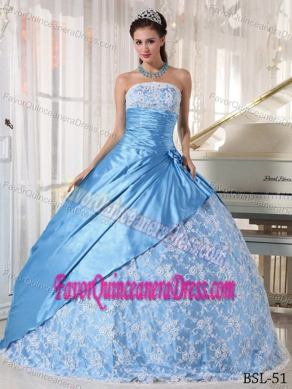 New Style Aqua Blue Taffeta Strapless Quinceanera Gown Dress with Lace