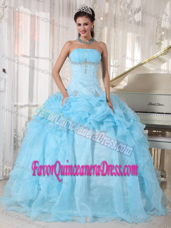 Popular Baby Blue Organza Beaded Quinceanera Gown Dresses with Ruffles