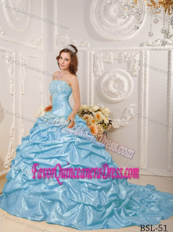 Hot Sale Court Train Aqua Blue Quinceaneras Dress with Pick-ups in Taffeta