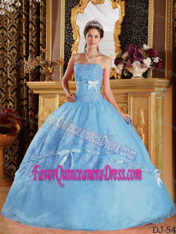 Aqua Blue Sweetheart Beaded Quinceanera Gown Dress with Ruffles in Organza