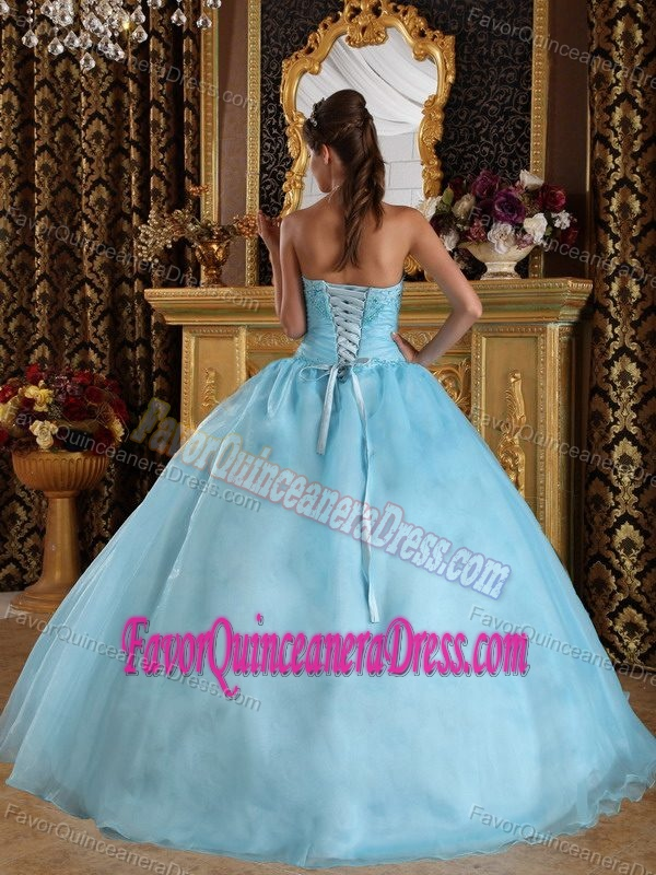 Graceful Aqua Blue Ball Gown Quinces Dresses with Embroidery in Organza