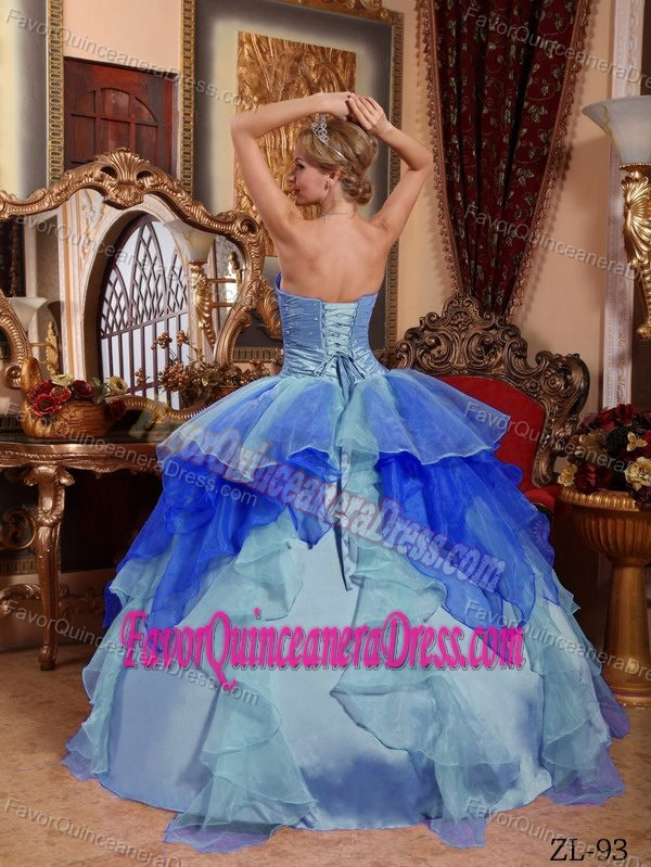 Multi-colored Ruched and Ruffled Quinceanera Gown with Embroidery in Organza